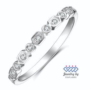 Designer Diamond Wedding Fine Band 14K White Gold